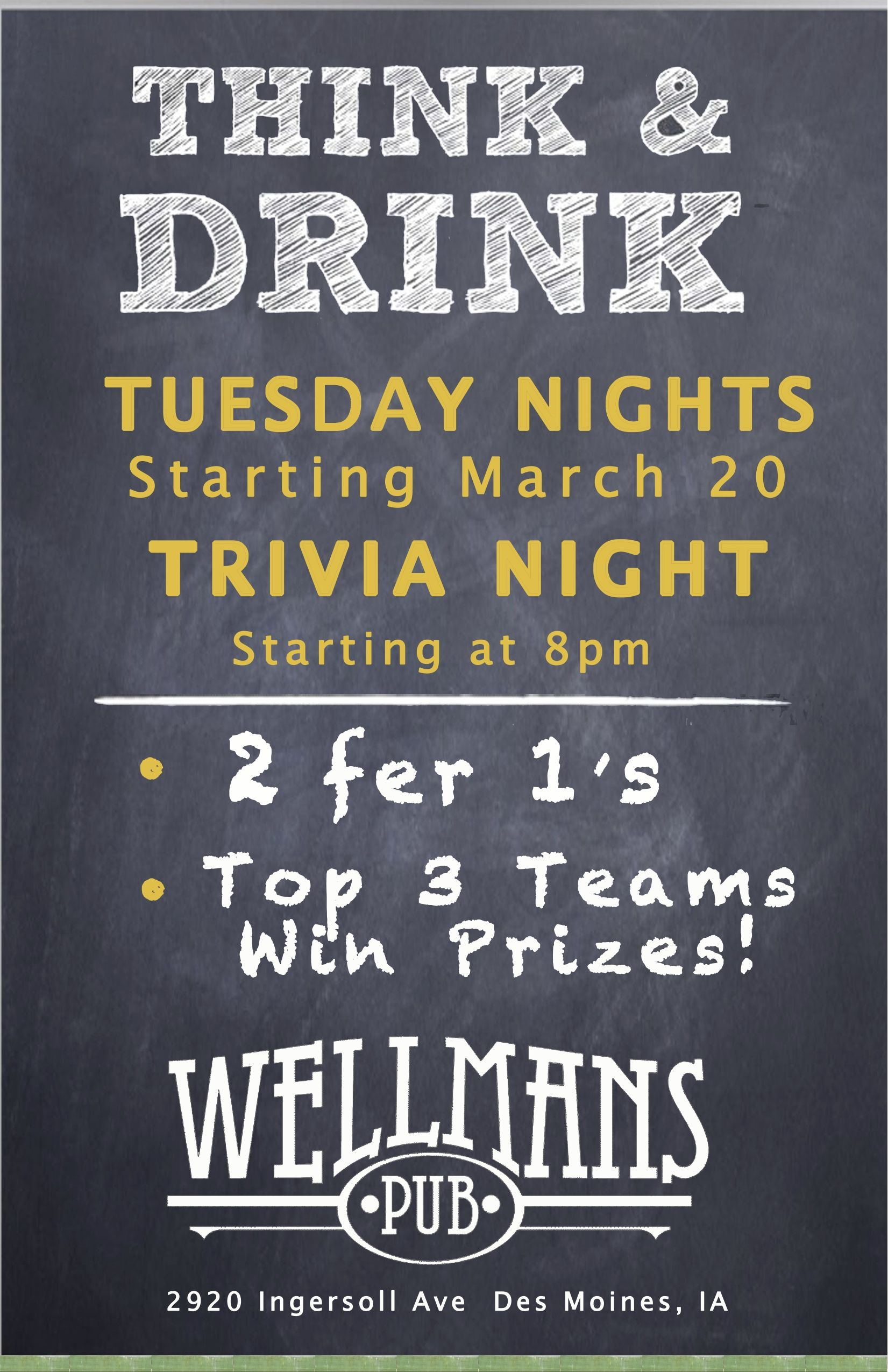 Tuesday night trivia at Wellman\'s - 8 pm sharp! | Trivia Night ...