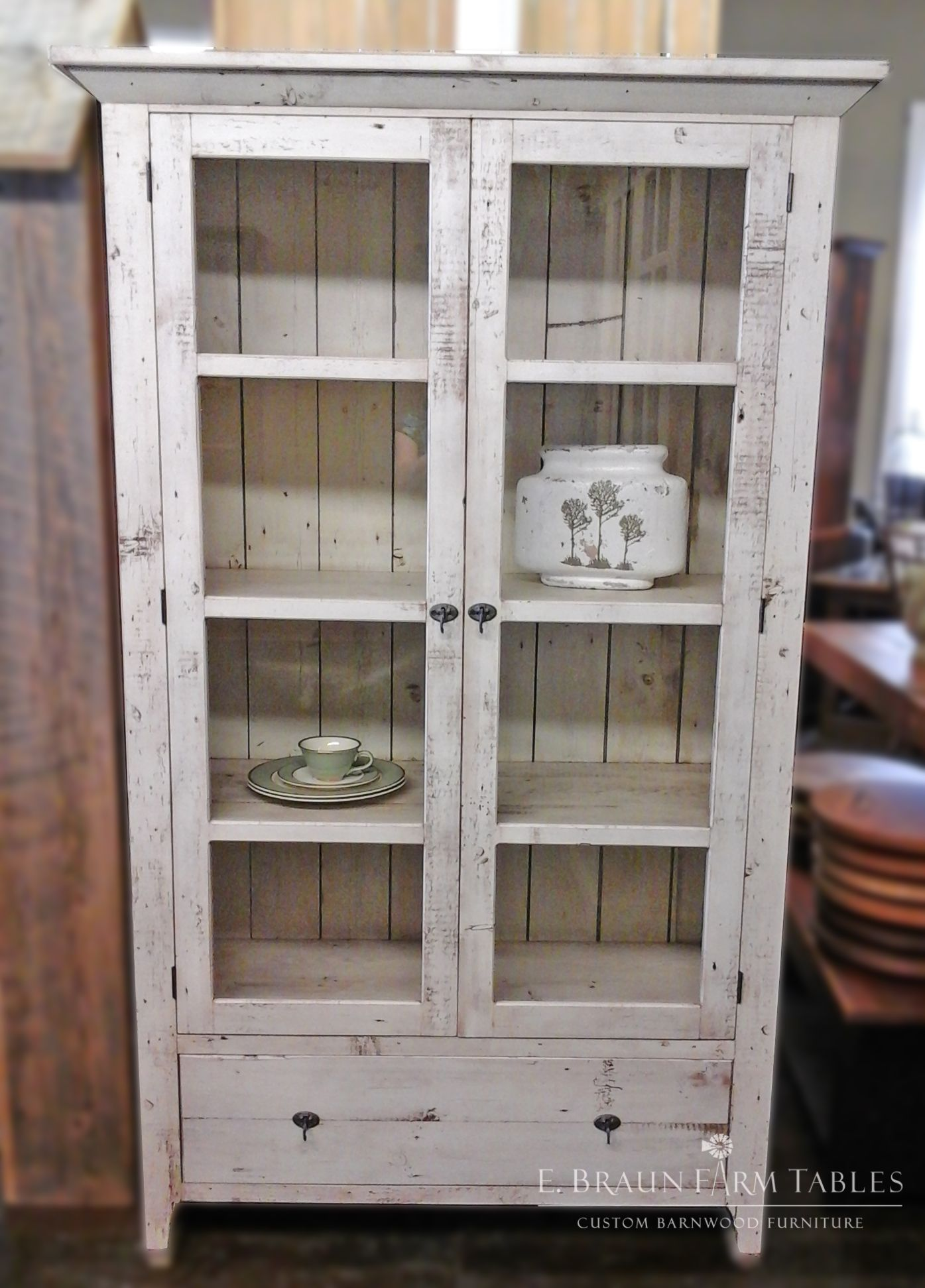 glass-front curio cabinet handcrafted using reclaimed barn wood ...