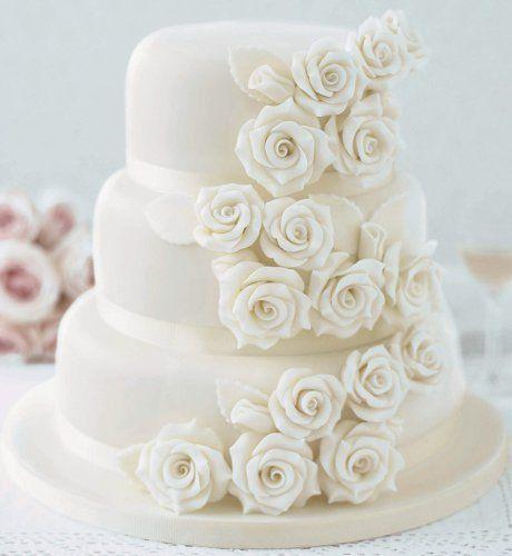 All White Wedding Cake With Roses Bridaltweet