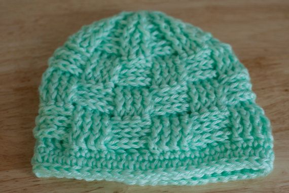 Mint Crocheted  Baby Hat by LavenderLaneCo on Etsy, $14.00