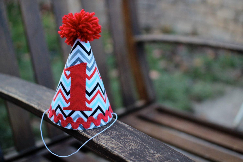 Custom birthday hat first birthday party gray red chevron