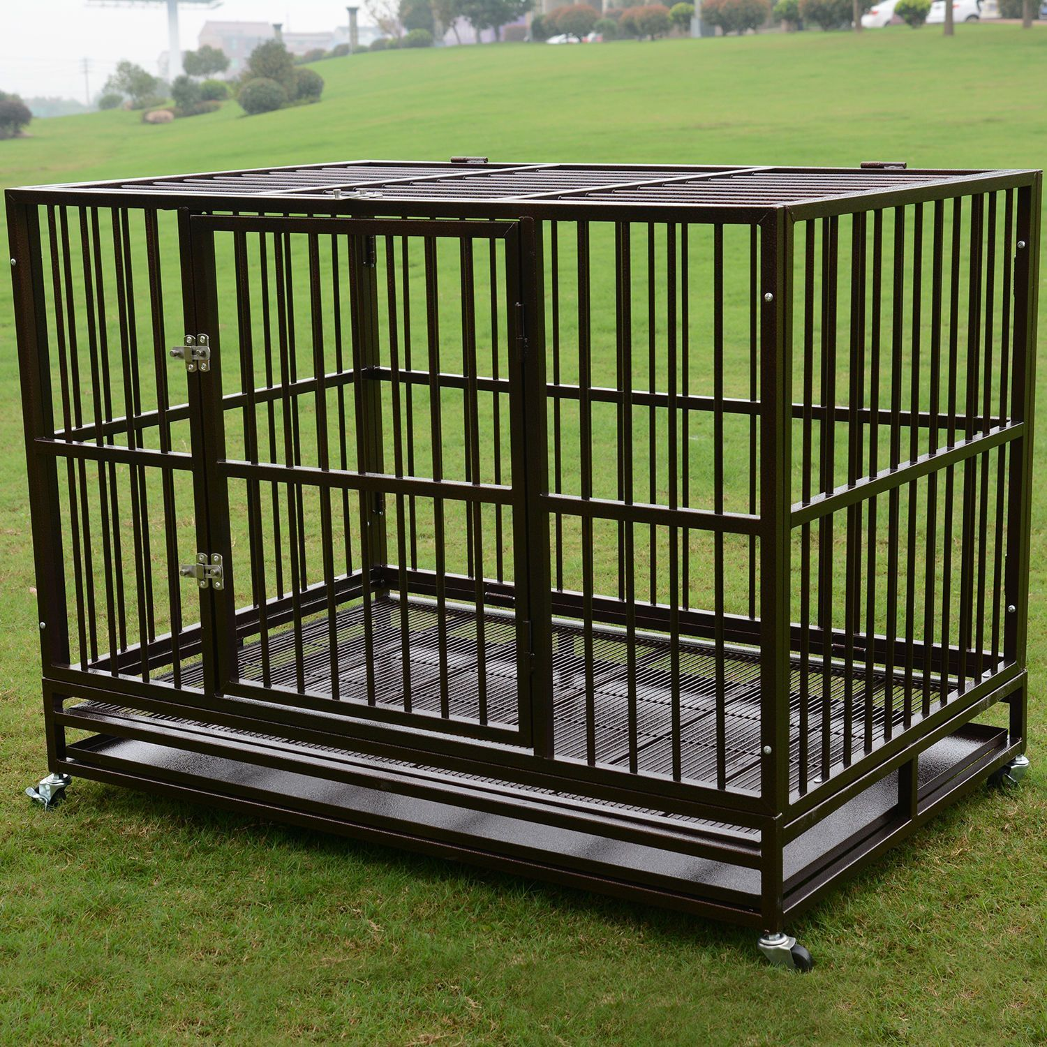 Details about 3XL 48 Dog Crate Kennel Heavy Duty Pet Cage Playpen w Metal Tray Exercise Pan