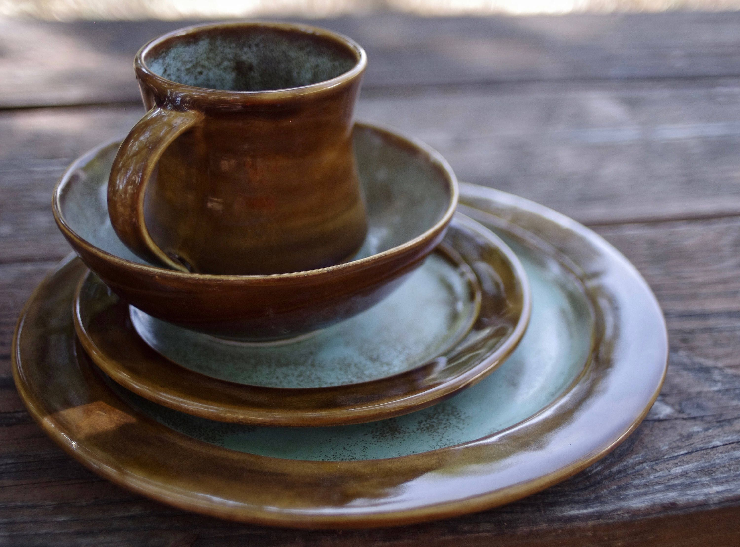 Art Deco Dinnerware Set- Handmade Stoneware Pottery Dinnerware- Brown and Sea Foam Green Spotted & Art Deco Dinnerware Set- Handmade Stoneware Pottery Dinnerware ...