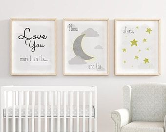 Love You Nursery Prints More Than The Moon And Stars Decor Print Pinterest