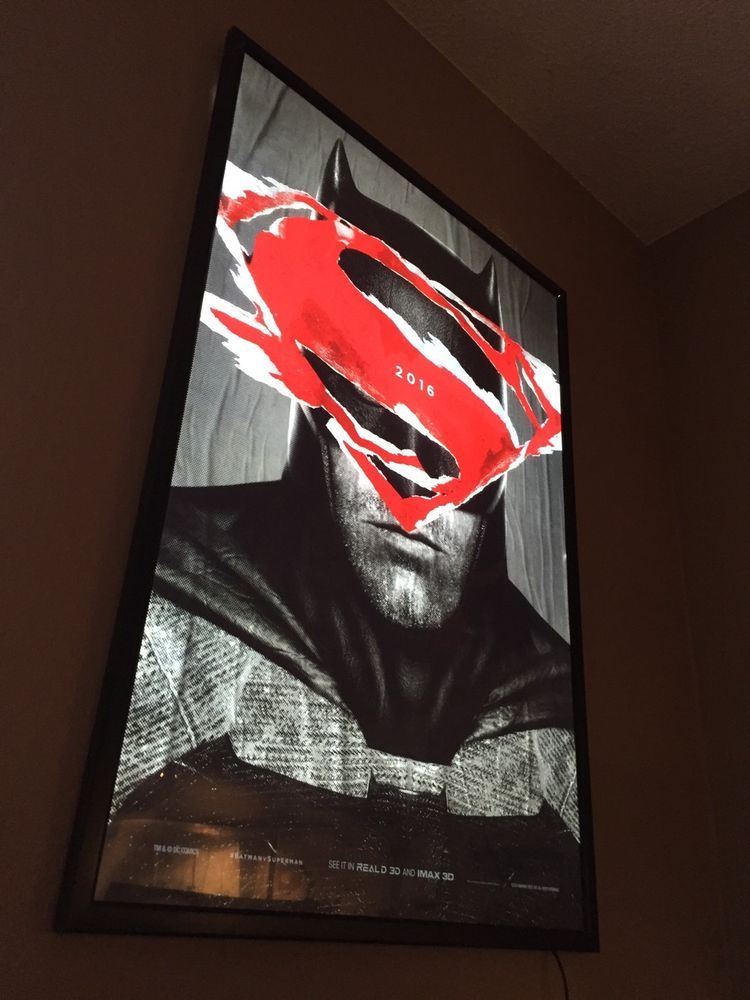 27x40 black movie led light box frame ds batman v superman poster see details
