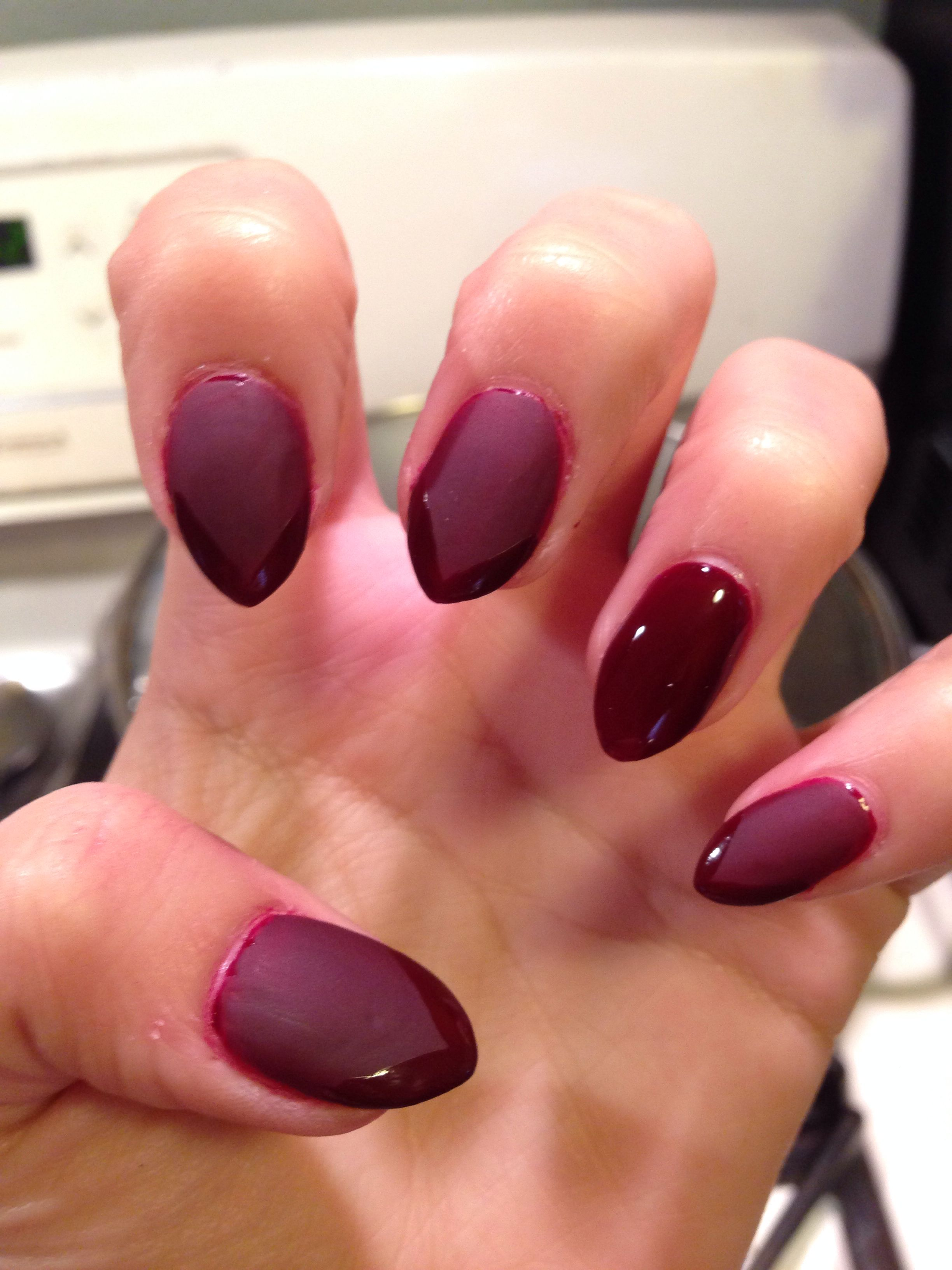 Burgundy Matte Stiletto Nails With Glossy Tips Nails Pinterest Stilettos Nails And Tips