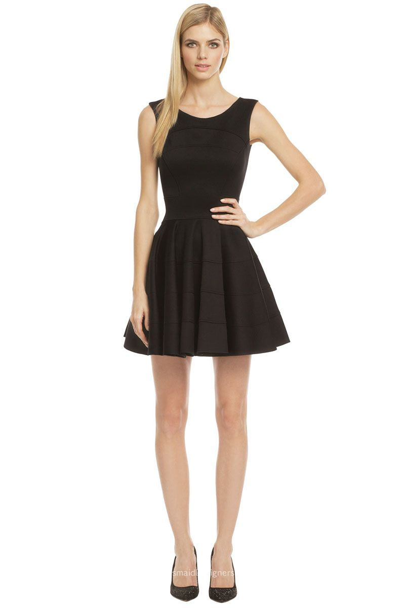 Refine and simple, this short black cocktail bridesmaid dress is ...