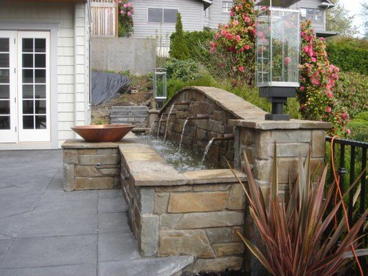 Outdoor Fireplaces With Water Features Living Patio Feature Torch
