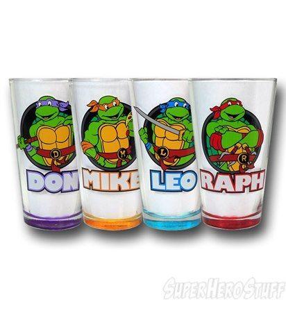 Tmnt Profile And Color Pint Glass Set Tmnt Ninja Turtles Ninja Turtles Names