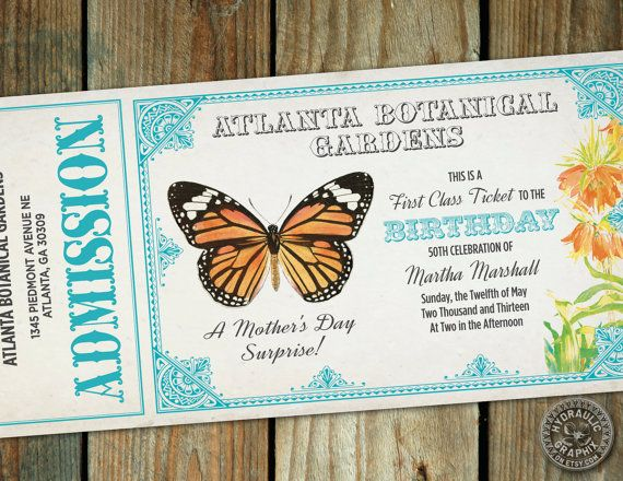 066b90eadb1 Mother s Day or Birthday Invitation to Botanical Gardens with butterfly  summer or spring wedding