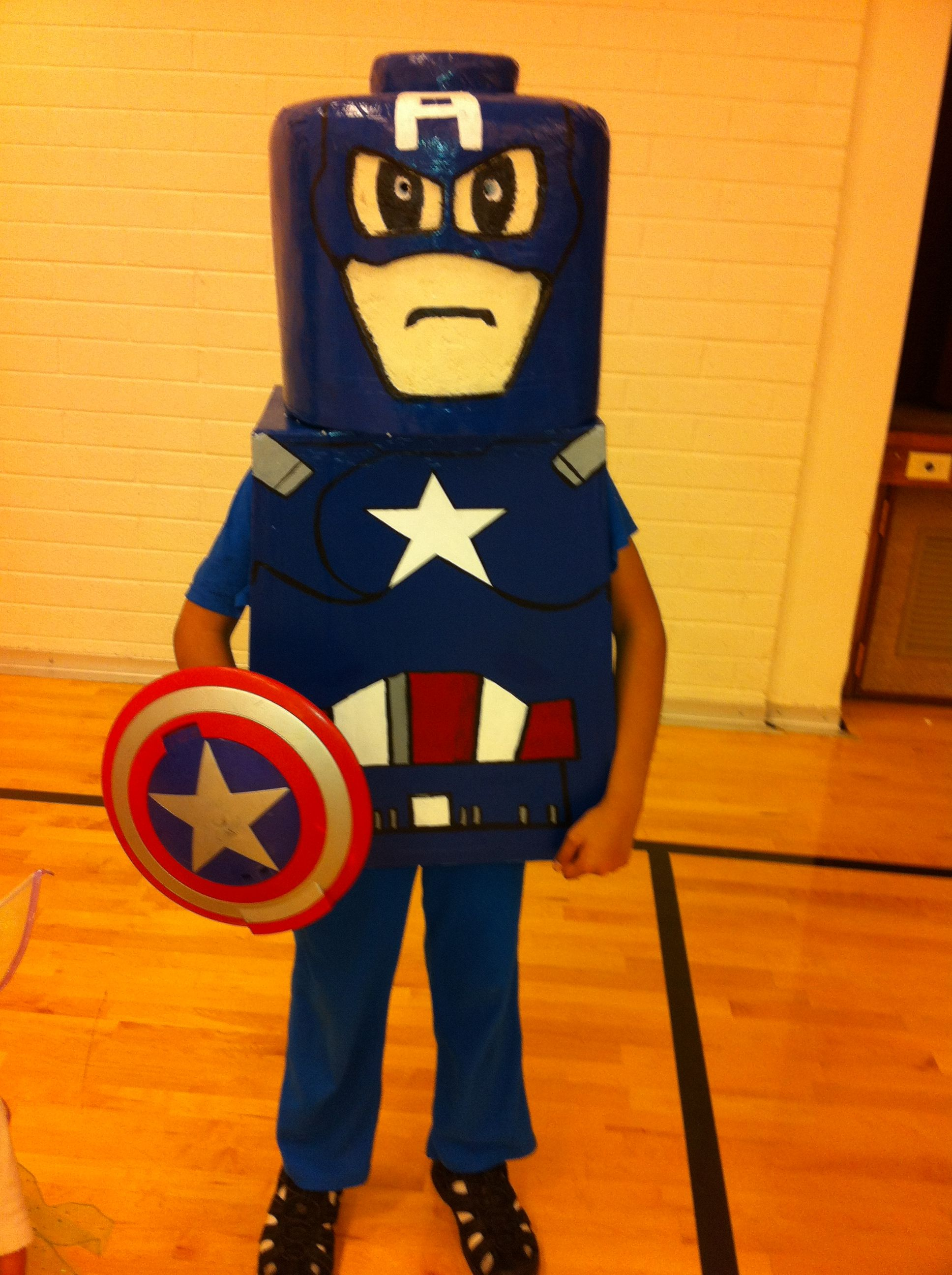 Lego Captain America  I made my sons costume he didn't wear the long sleeve or his hands but ill do that on the update!