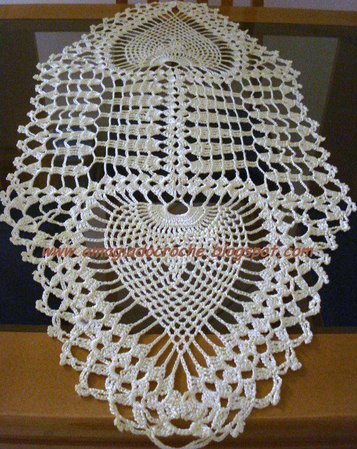 Crochê Meire: caminho de mesa | rosa salas | Pinterest | Deckchen ...