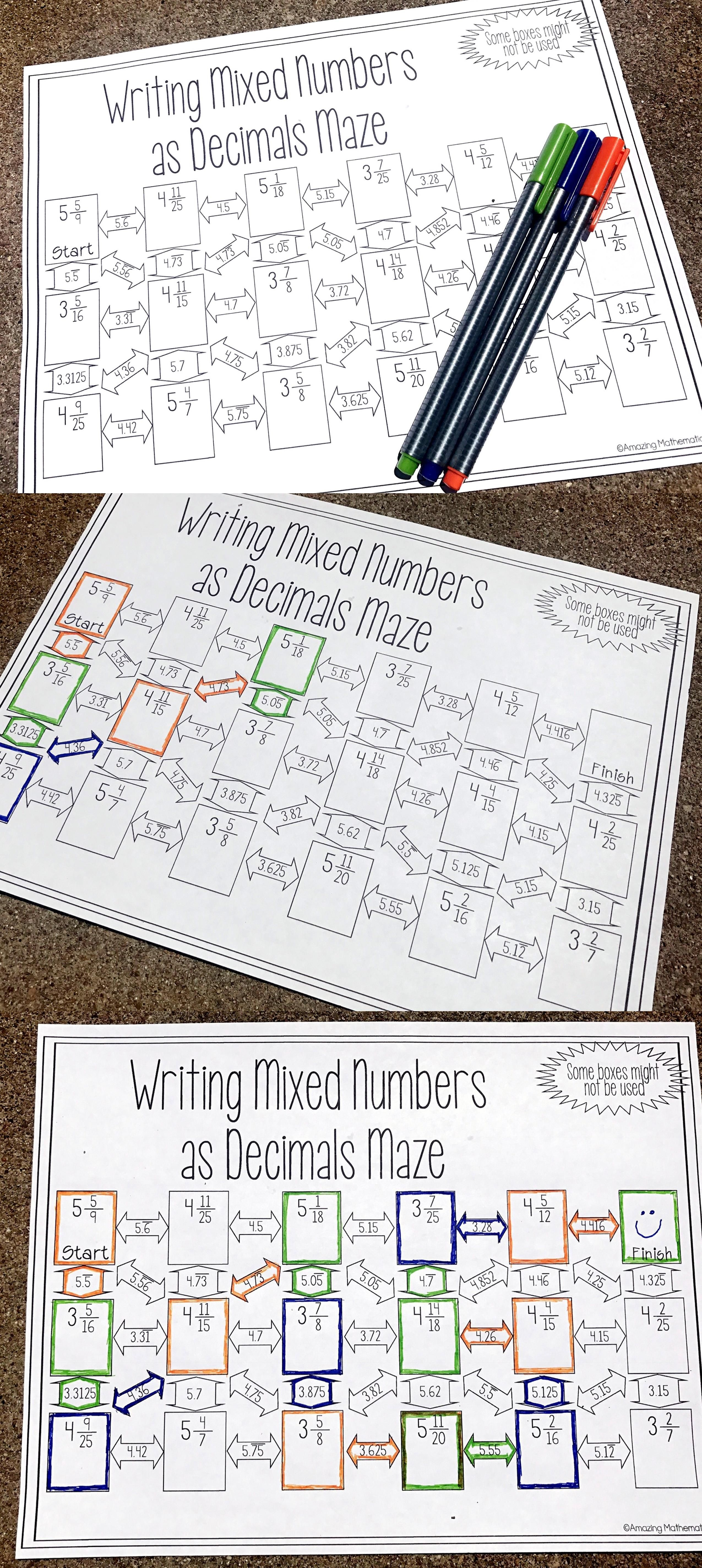 Writing Mixed Numbers As Decimals Maze