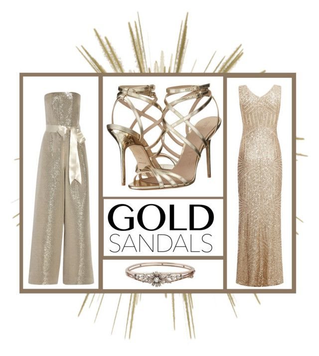 """""""Gold Sandals 1"""" by roquinn ❤ liked on Polyvore featuring Burberry, Dorothy Perkins, Oscar de la Renta and goldsandals"""