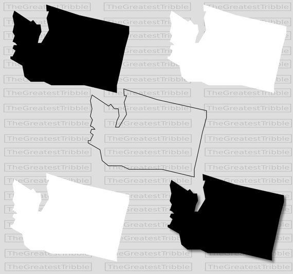 Washington State Map Svg Png Jpg Eps Vector Graphic Clip Art Etsy Washington State Map Washington State Outline State Map