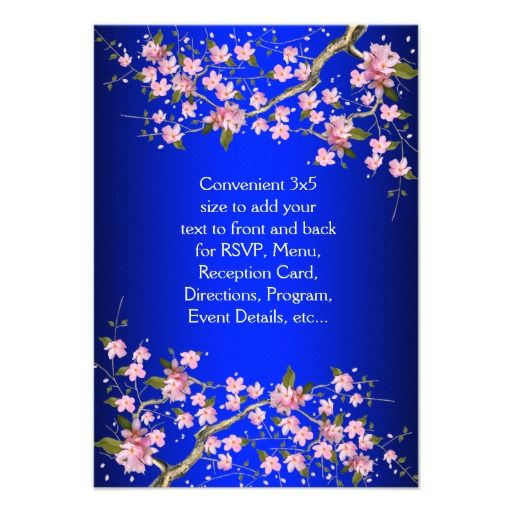Royal Blue Pink Japanese Cherry Blossoms Rsvp Zazzlecom In 2019