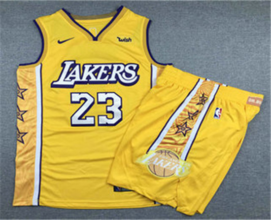 2020 Men S Los Angeles Lakers 23 Lebron James Yellow Nike City Edition Swingman Jersey With Shorts In 2020 Los Angeles Lakers Team Wear Athletic Apparel