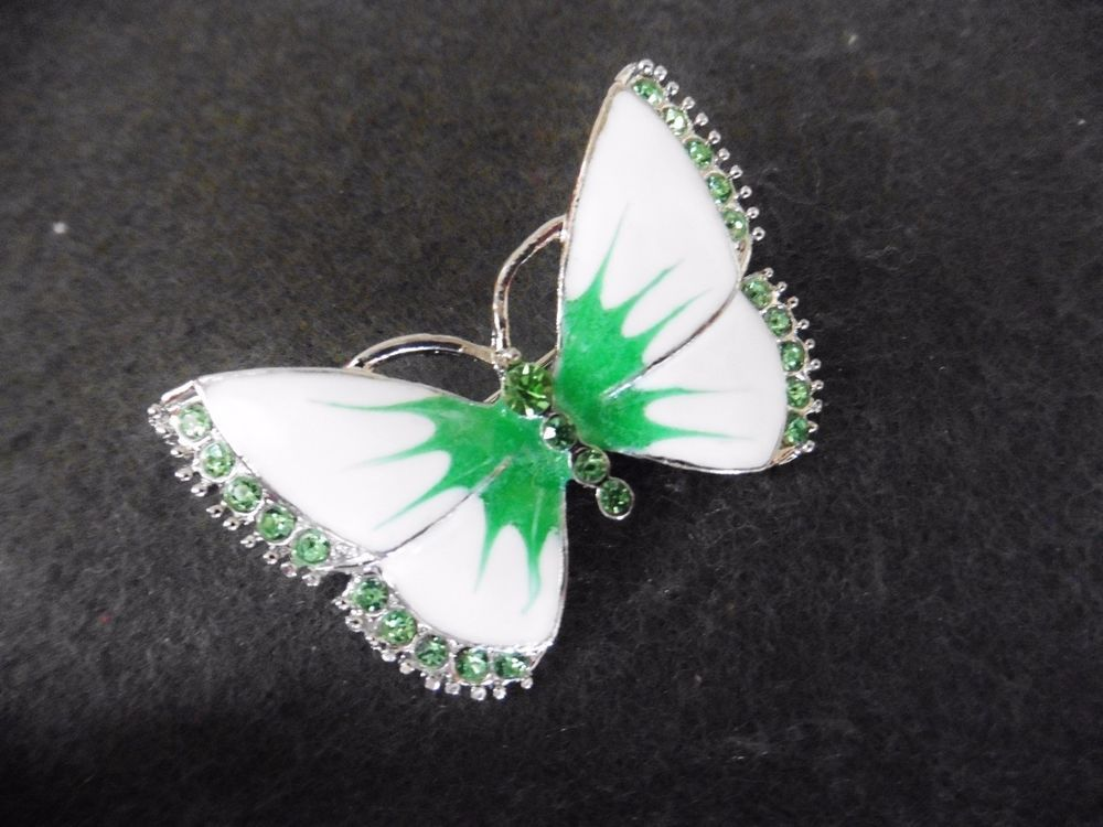 New vintage style white green enamel green diamante butterfly brooch pin gift  £5.49 + £1.50 p&p