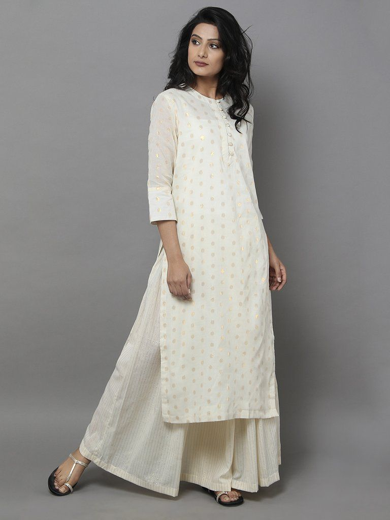 Off White Cotton Zari Kurta | White kurta, Indian designer