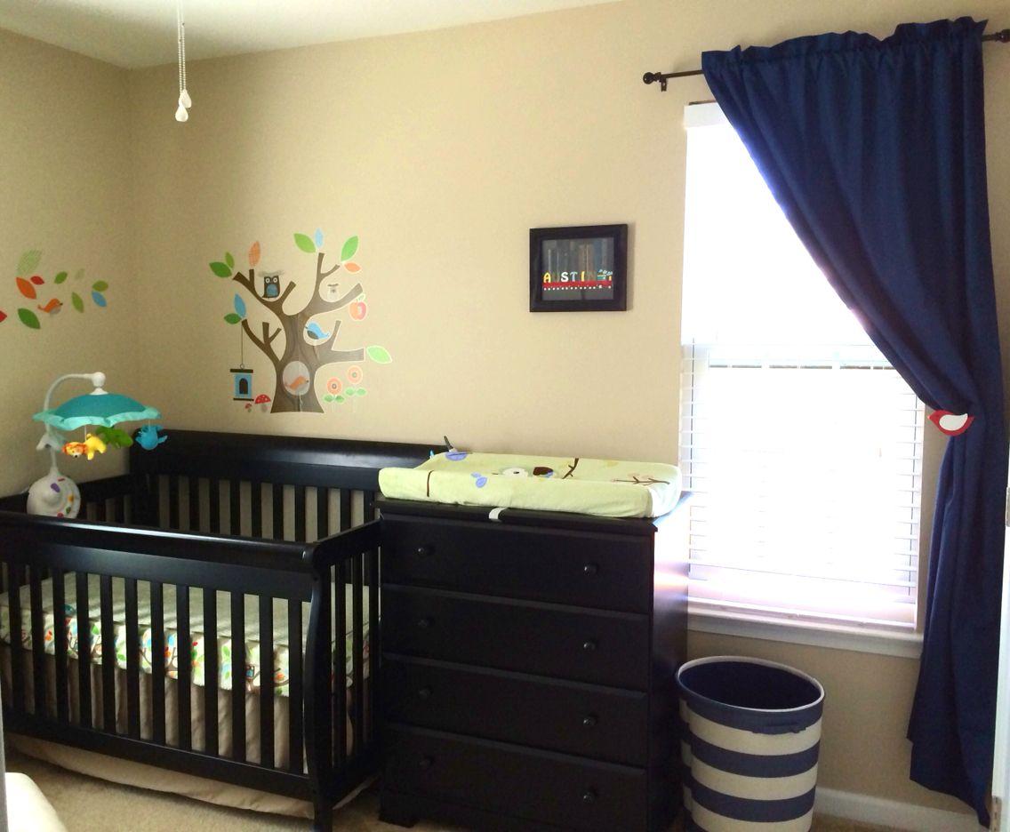 Boys nursery - beige and blue with black furniture. Paint is Valspar ...