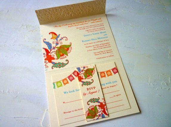 postcard wedding invitations mexico mexican bunting wedding