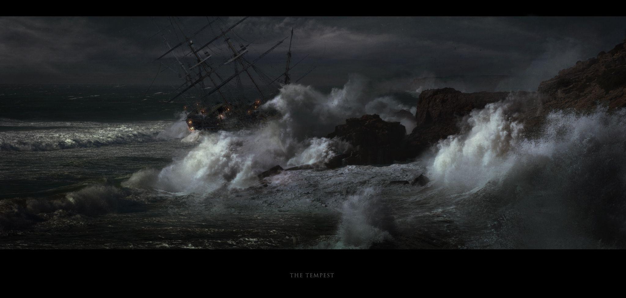 Tempest Picture  (2d, concept art, ship, ocean, boat, storm, waves, wreck, shipwreck, sailing ship, tempest) by Kentaro Kanamoto