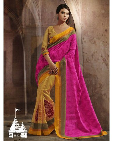 2c7919509 Yellow   Pink Color Printed Saree This Saree Bhagalpuri Silk Fabric ...