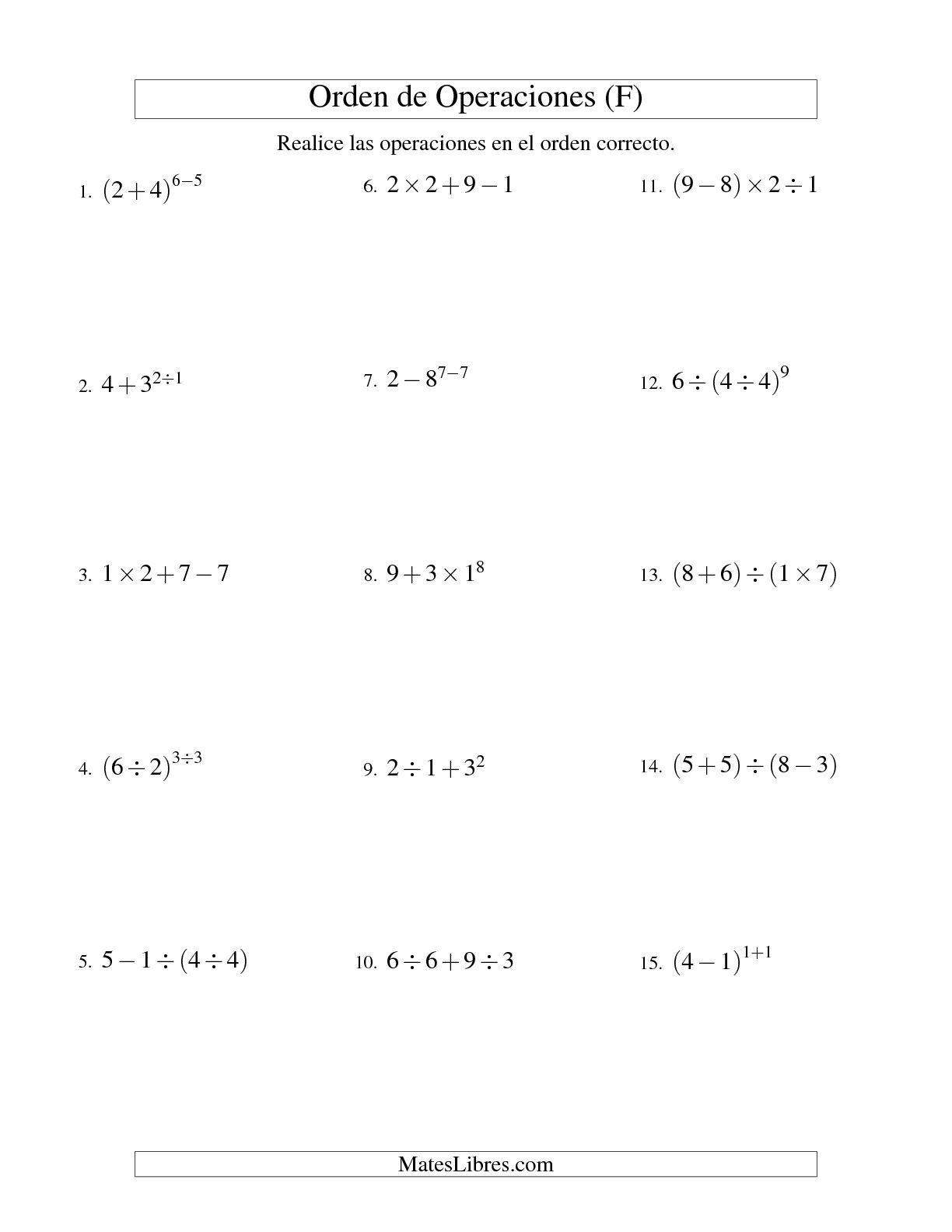 La Hoja De Ejercicios De Matematicas De Orden De