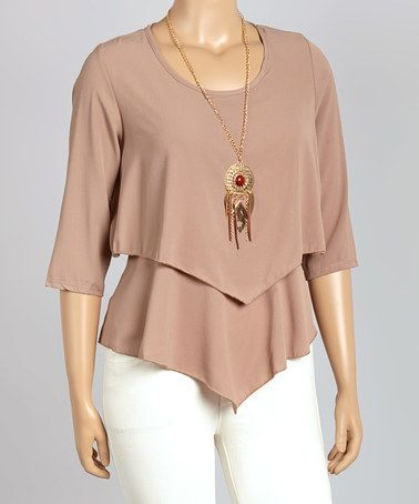 Mocha Layered Three-Quarter Sleeve Top - Plus #zulily #zulilyfinds