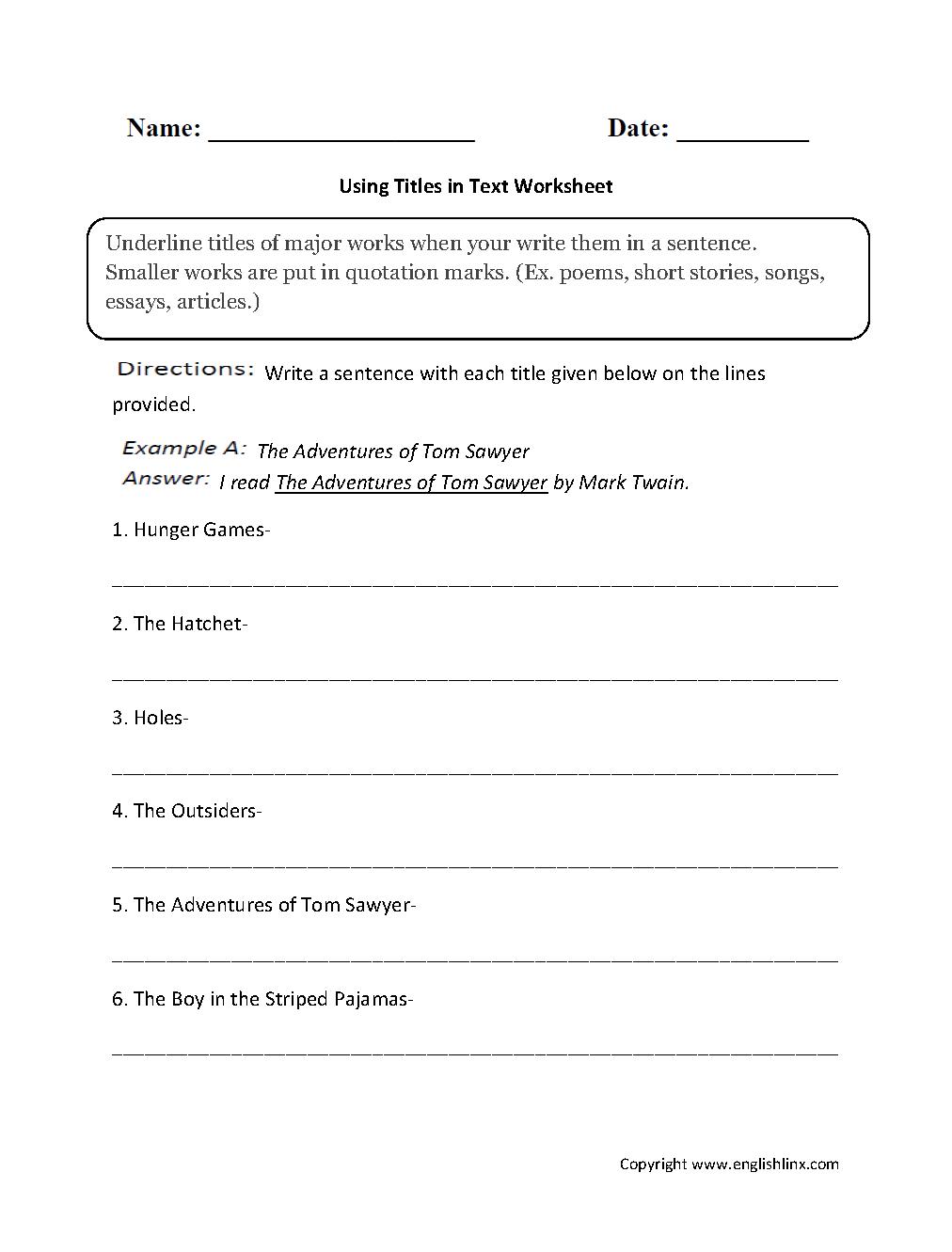 Using Titles In Text Worksheets Grammar Mechanics Letter Worksheets For Preschool Punctuation Worksheets [ 1331 x 1012 Pixel ]