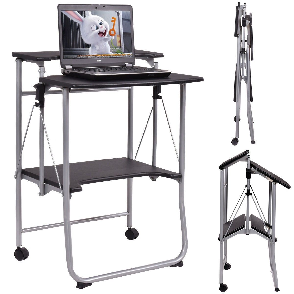Costway Folding Computer Desk Laptop Pc Table Workstation Study Writing Desk W 2 Wheels Folding Computer Desk Folding Chair Desk