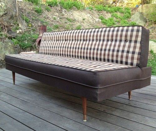 Vtg Mid Century Modern Sofa Daybed Fold Down Bed Dated 1961 Couch - Daybed Images