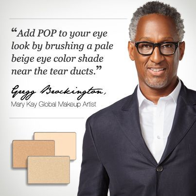 Try this beauty tip from Mary Kay Global Makeup Artist Gregg Brockington with Mary Kay® Mineral Eye Color in Crystalline, Moonstone, or Honey Spice!