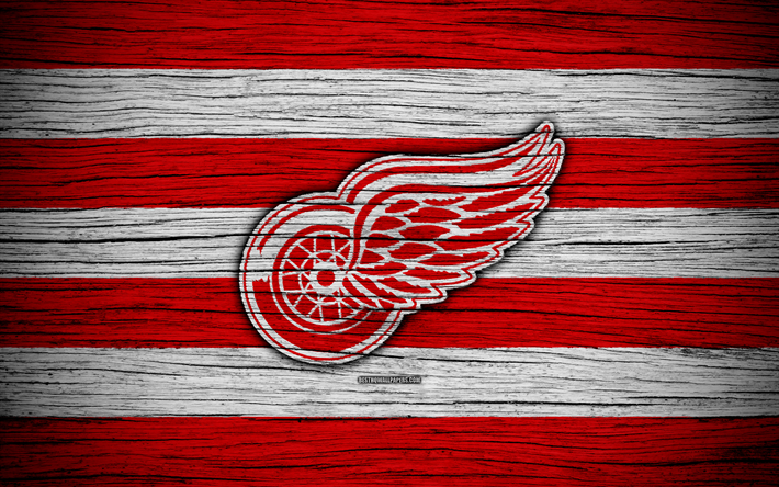 Download wallpapers Detroit Red Wings, 4k, NHL, hockey club, Eastern Conference, USA, logo, wooden texture, hockey, Atlantic Division