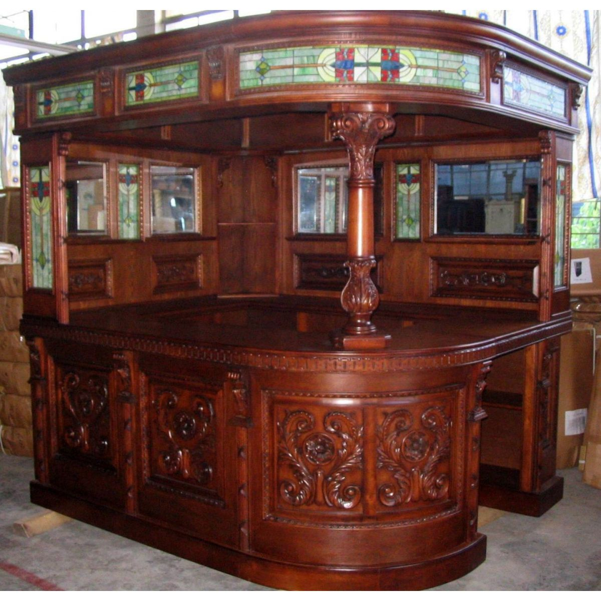 Home Bar Furniture: Antique Covered English Style Corner L Home Bar, Furniture