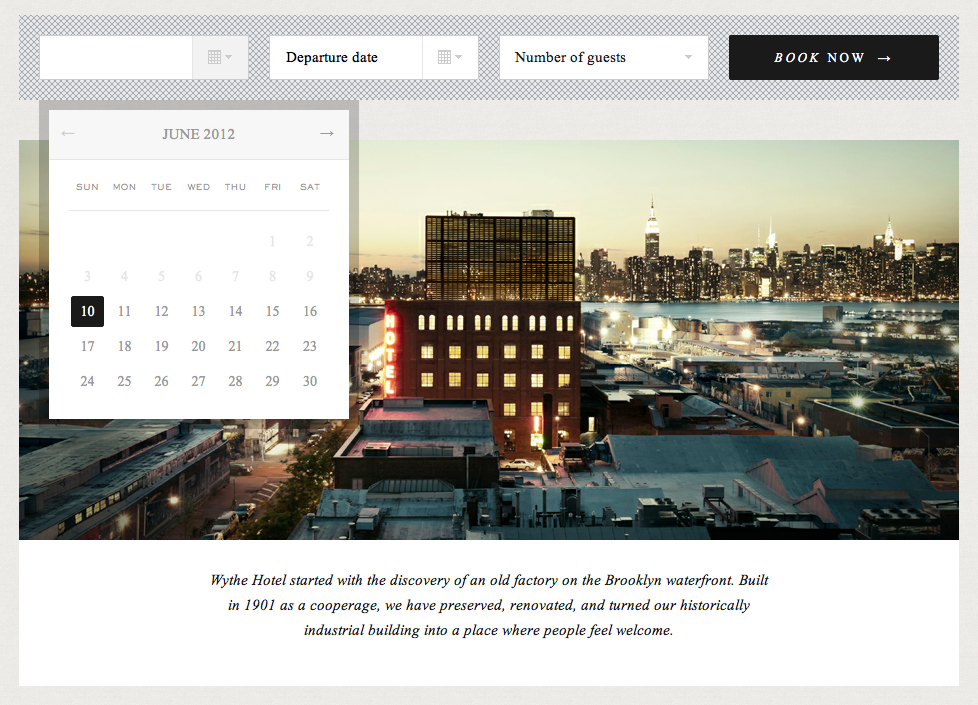 Reservation Form From Wythe Hotel  Web  Mobile Design