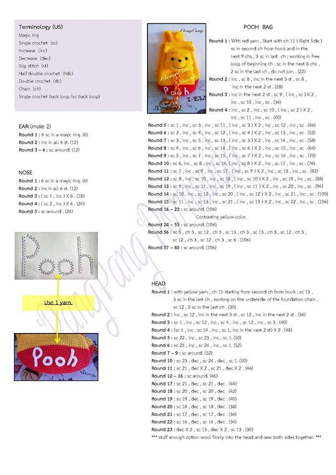 Croche e Pontos: Mochilas Infantis 15/9/16 Winnie the Pooh Mochila ...