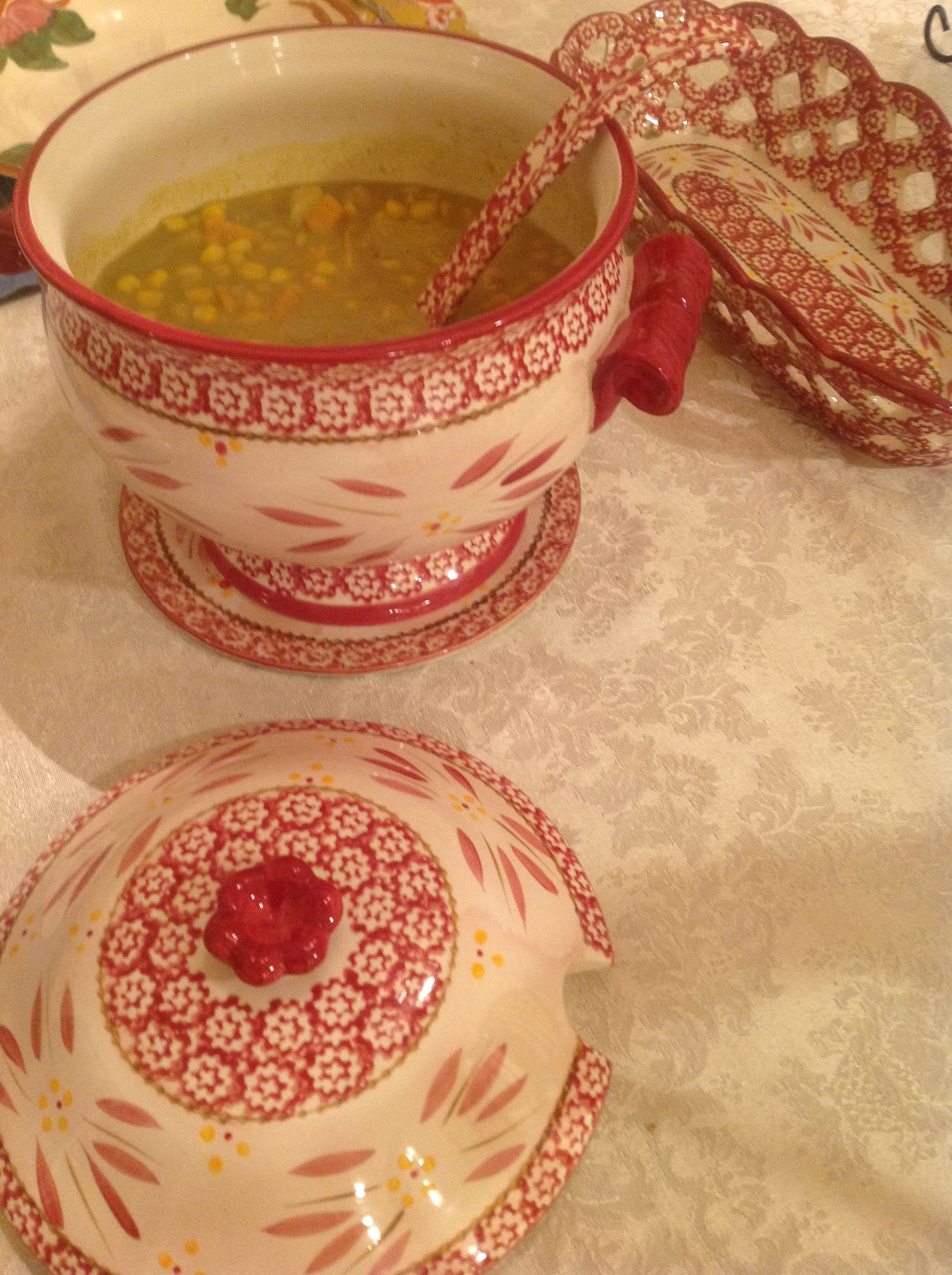 Soup tureen with curry shrimp soup