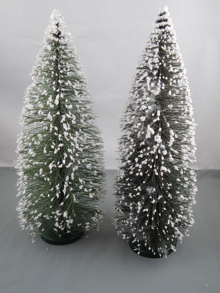 2 Pc Vintage Snow Flocked Bottle Brush Christmas Trees Decor 15 Bottle Brush Christmas Trees Snow Flock Christmas Tree Decorations