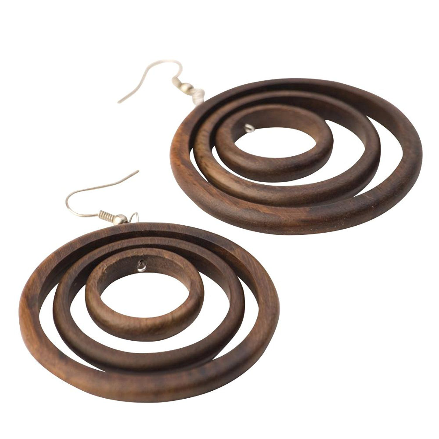 81stgeneration Women's Wood .925 Sterling Silver Round Brown Dangle Hoop Earrings nrtx3