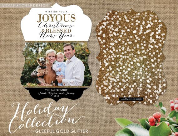Christmas Card / Photo Holiday Cards / Gleeful Gold Glitter Confetti / Wishing you a Joyous Christmas & Blessed New Year / FREE Shipping