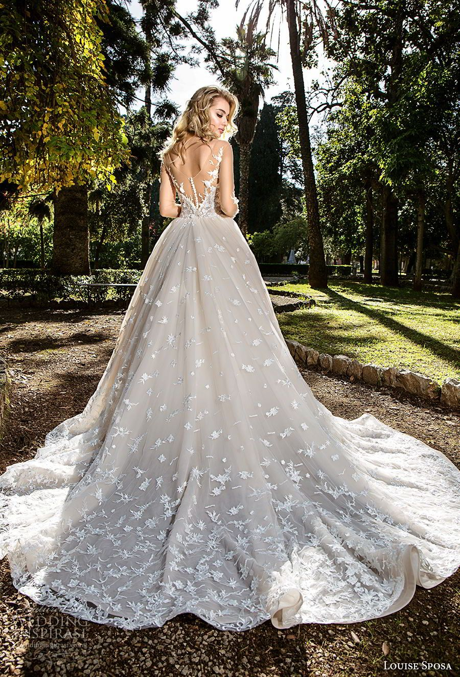 Wedding dress long sleeve  Louise Sposa  Wedding Dresses  Blush color Chapel train and