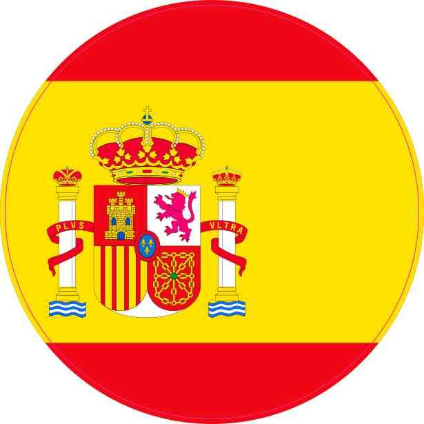 4inx4in round spain flag sticker vinyl vehicle decal travel hobby stickers