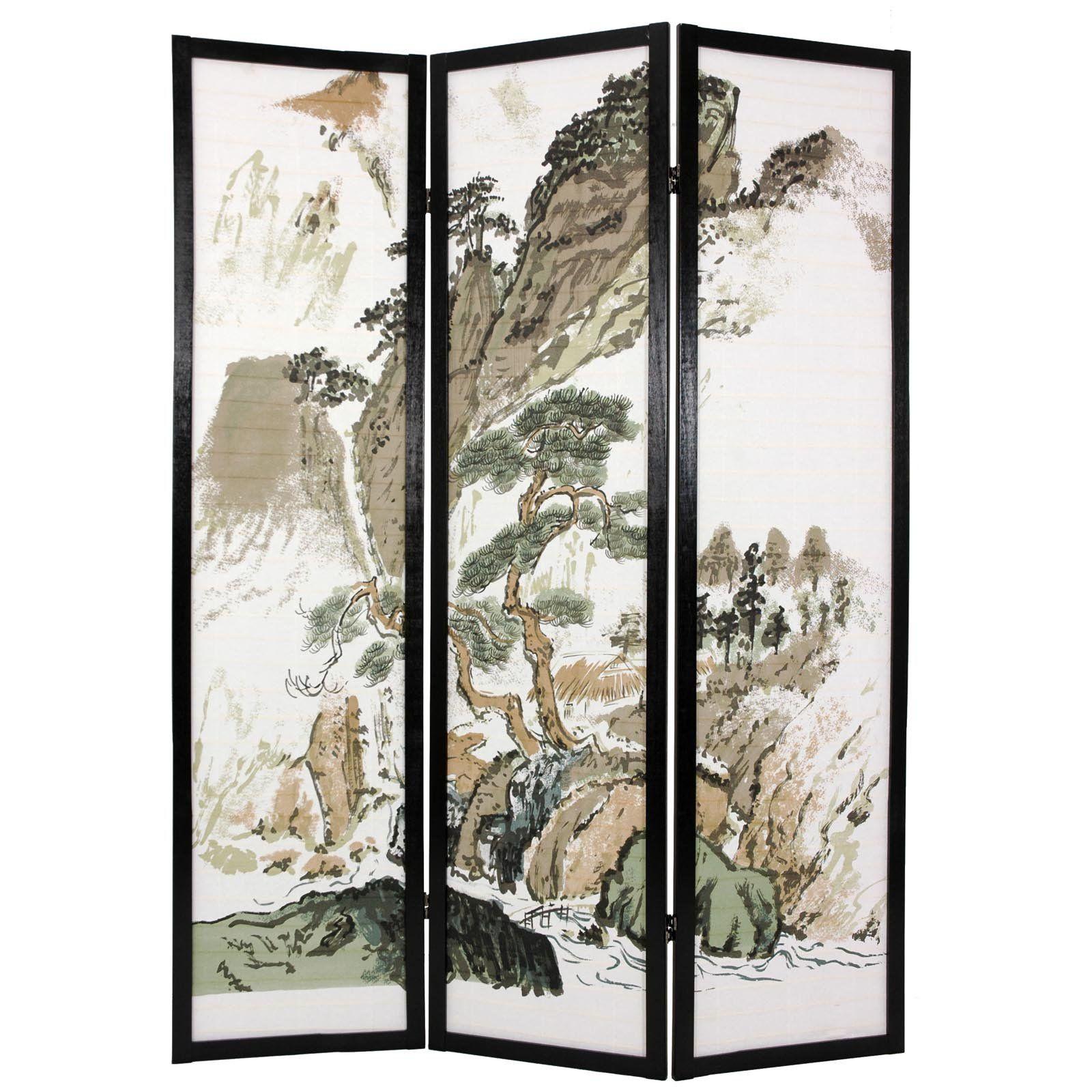 Oriental Furniture Landscape Design Shoji Screen Room Divider -  SSCLND-3_PANEL