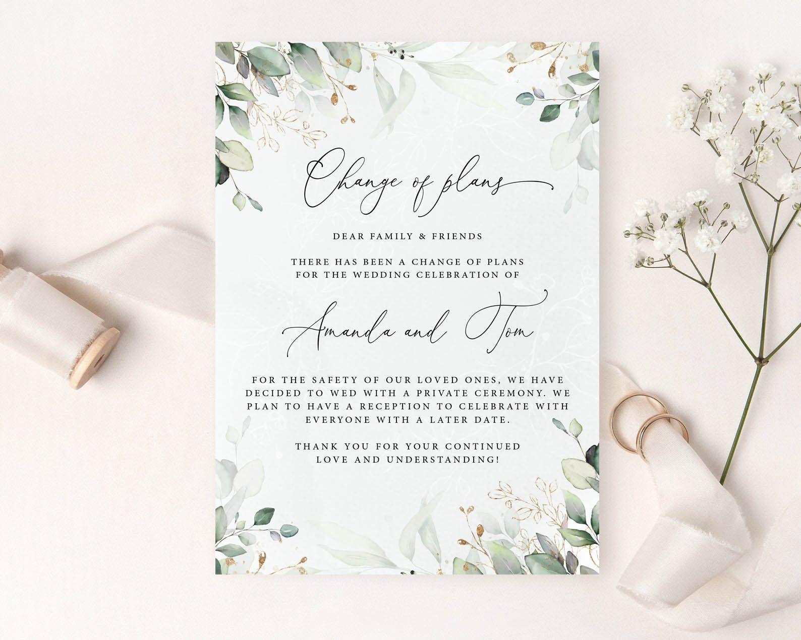 Digital or Printed Cards Wedding Postponement Image Change of Plan Postponed Wedding Wedding Date Change