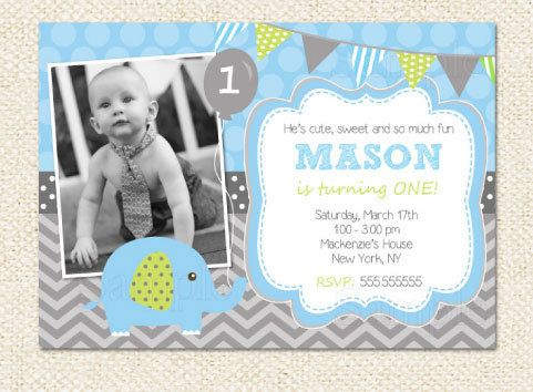 Elephant Birthday Invitations Boy On Etsy 1200
