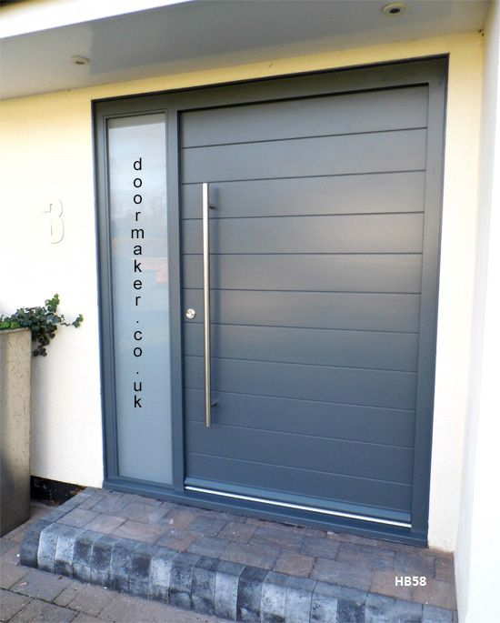 Anthracite Grey Ral7016 Modern Front Door With 2 Obscure