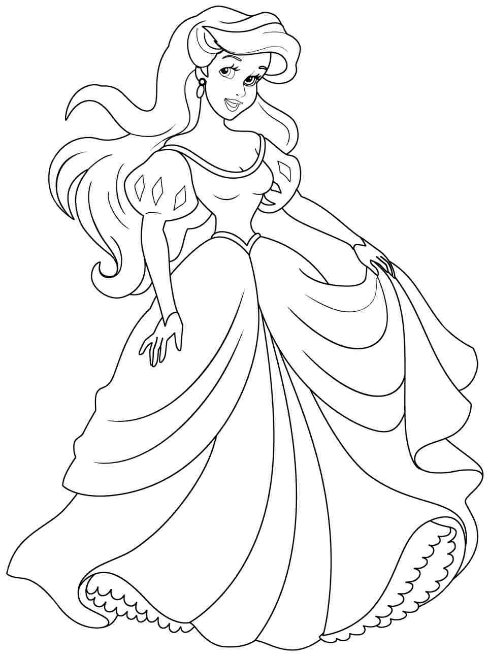 disney princess ariel coloring pages Mlarbok fr vuxna och barn