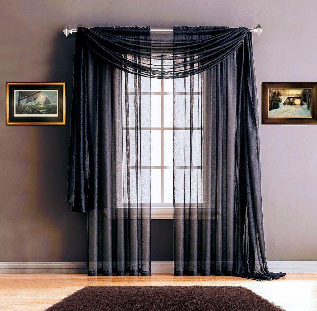 Warm Home Designs Premium Sheer Navy Blue Window Scarves Or Rod