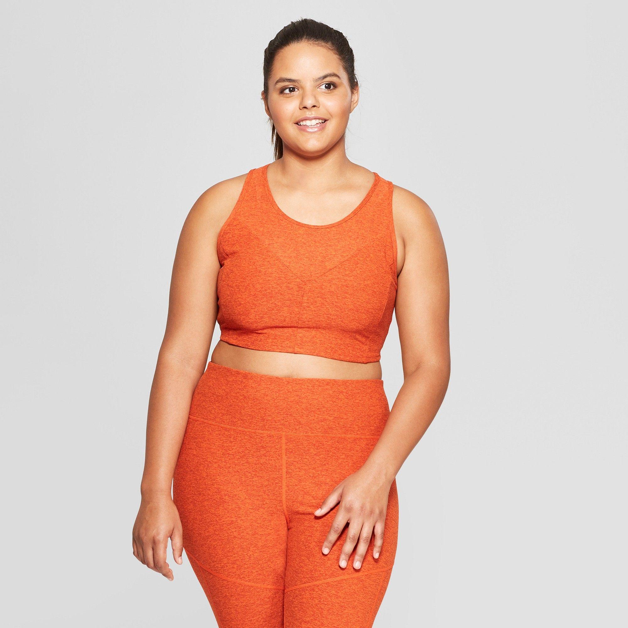 dbf9e5c700358 Women s Plus Size Longline Sports Bra - JoyLab Pumpkin Orange4X ...